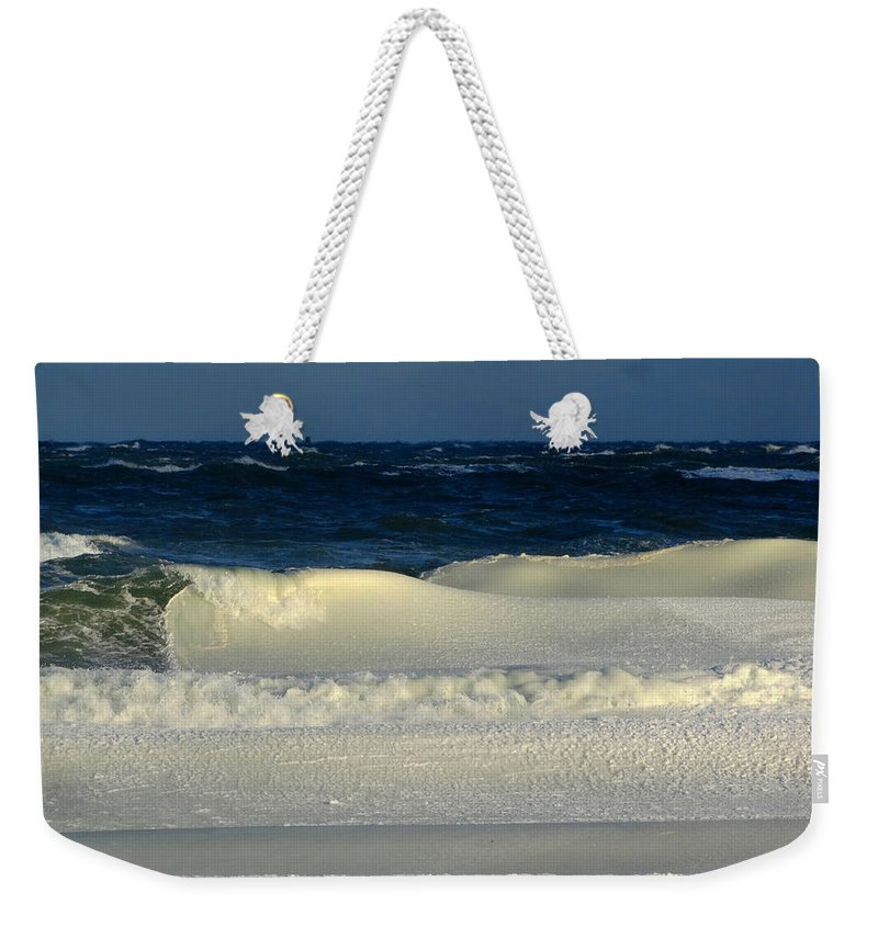 Seascape Weekender Tote Bag featuring the photograph Frozen Waves Christmas Card by Dianne Cowen