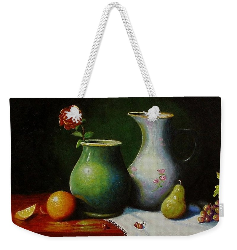 Still Life Weekender Tote Bag featuring the painting Fruit And Pots. by Gene Gregory