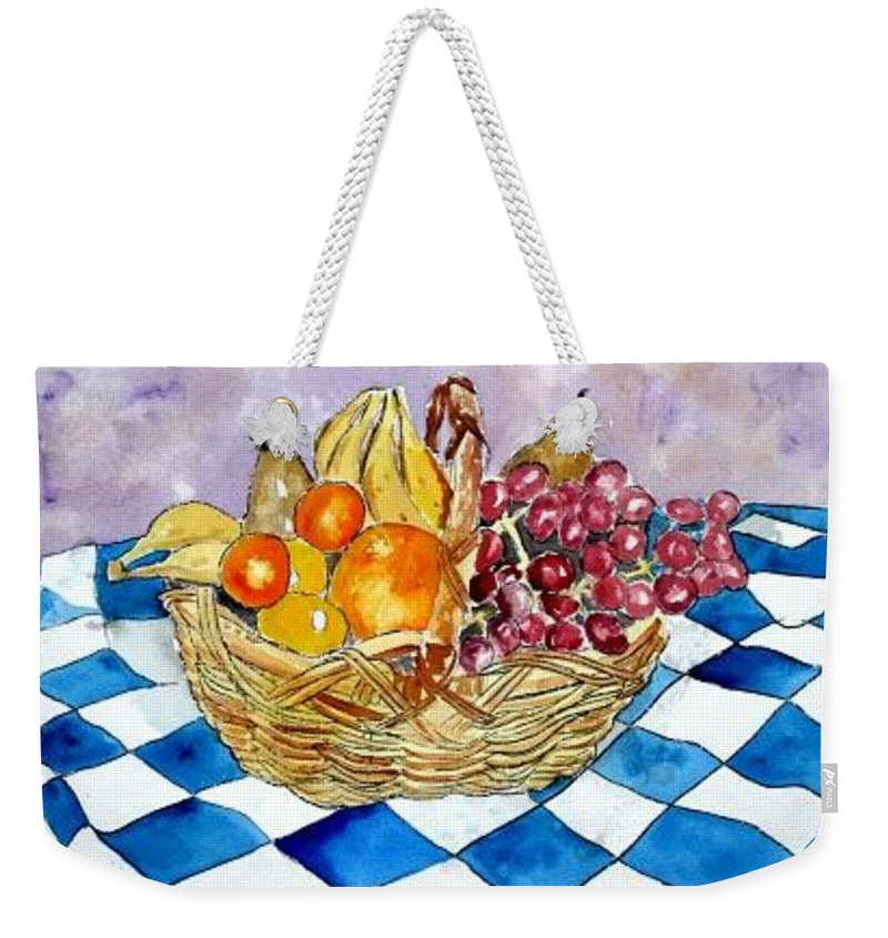 Fruit Basket Weekender Tote Bag featuring the painting Fruit Basket Still Life 2 Painting by Derek Mccrea