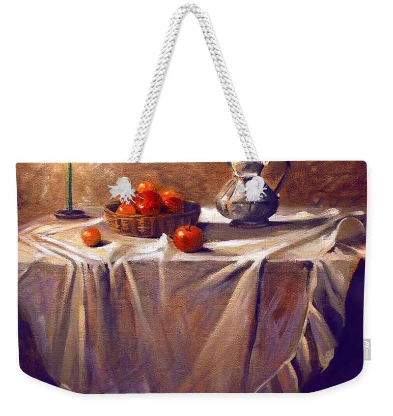 Still Life Weekender Tote Bag featuring the painting Fruit By Candle Light by Nancy Griswold
