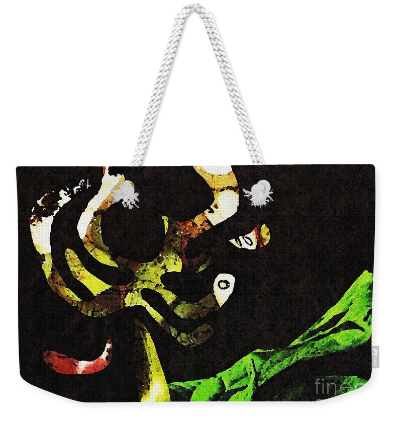 Flower Weekender Tote Bag featuring the mixed media Fruit Flower by Sarah Loft