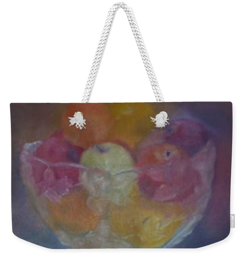 Still Life Weekender Tote Bag featuring the painting Fruit In Glass Bowl by Sheila Mashaw