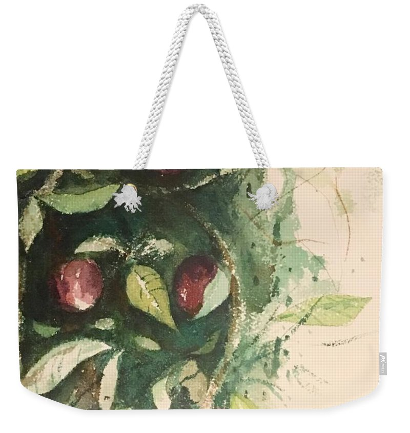 Weekender Tote Bag featuring the painting Fruit by Ralph Herrington Farabee