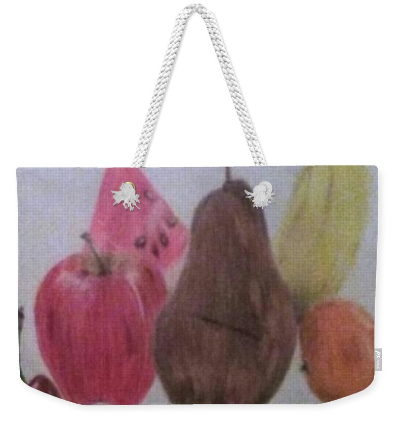 Fruit Weekender Tote Bag featuring the drawing Fruit by Rosa Lebre