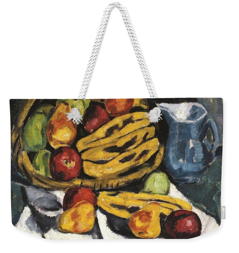Art Weekender Tote Bag featuring the painting Fruit Still Life By Marsden Hartley by Marsden Hartley