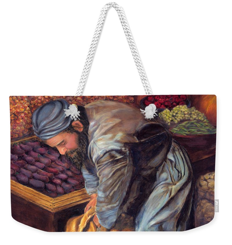 Figurative Painting Weekender Tote Bag featuring the painting Fruit Vendor by Portraits By NC