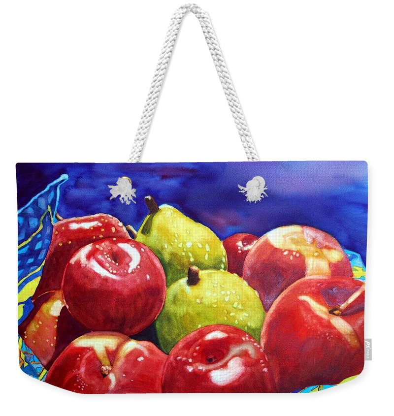 Watercolor Weekender Tote Bag featuring the painting Fruitfully Yours by Gerald Carpenter