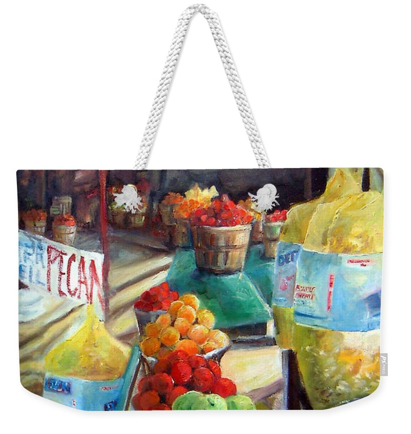 Fruit Weekender Tote Bag featuring the painting Fruitstand Rhythms by Linda Shackelford