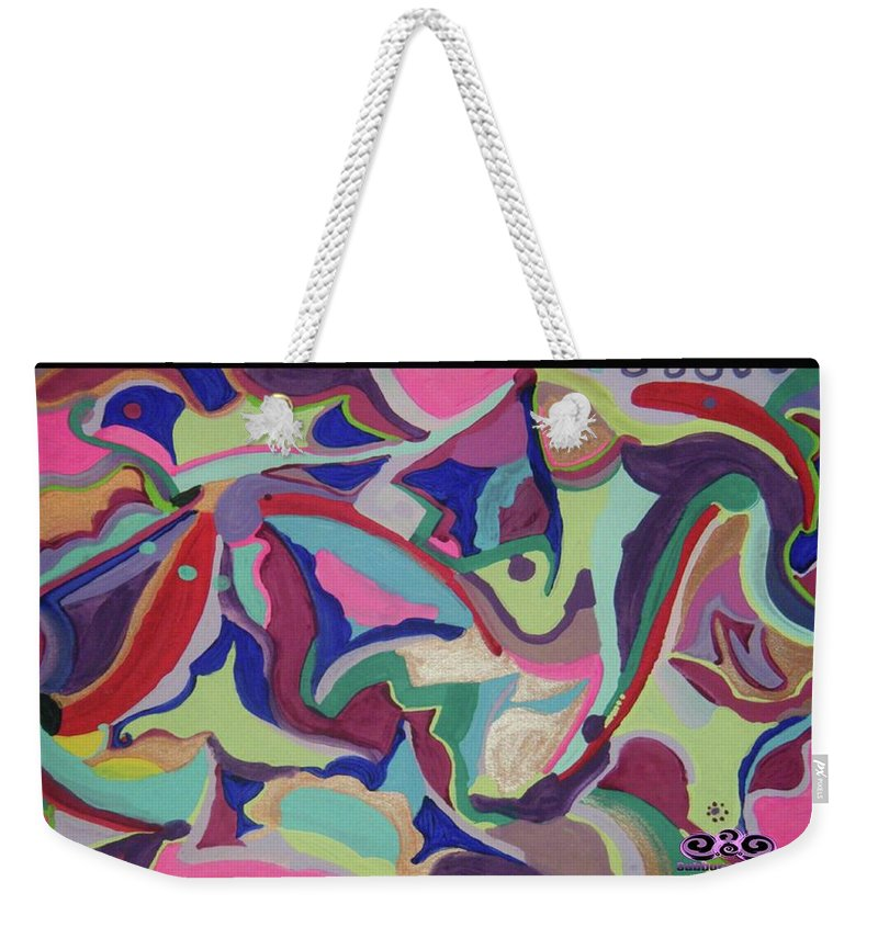 Weekender Tote Bag featuring the painting Fruity Land by Subbora Jackson