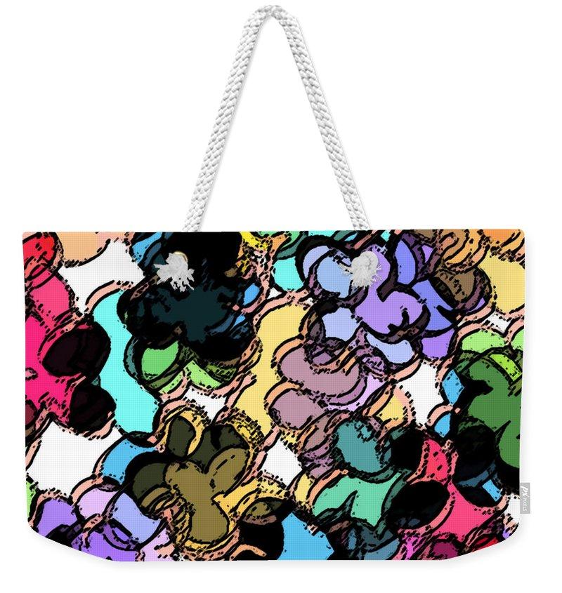 Abstract Weekender Tote Bag featuring the digital art Fruity by Rachel Christine Nowicki