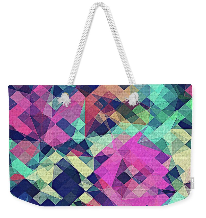 Abstract Weekender Tote Bag featuring the digital art Fruity Rose  Fancy Colorful Abstraction Pattern Design green pink blue by Philipp Rietz