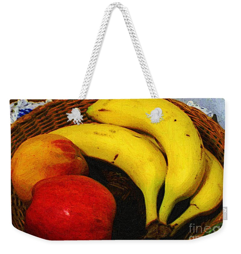 Food Weekender Tote Bag featuring the painting Frutta Rustica by RC DeWinter