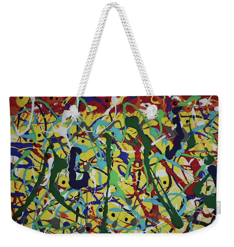 Abstract Weekender Tote Bag featuring the painting Fun Time by Pam Roth O'Mara