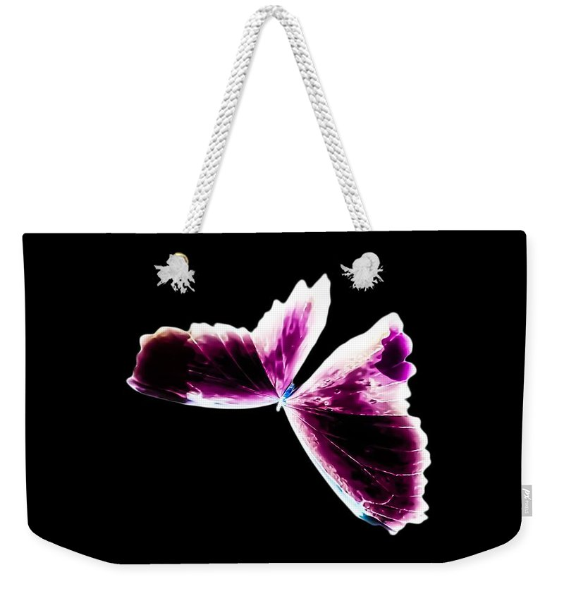 Fuchsia Weekender Tote Bag featuring the photograph Fuchsia Burgundy Butterfly by Heather Joyce Morrill