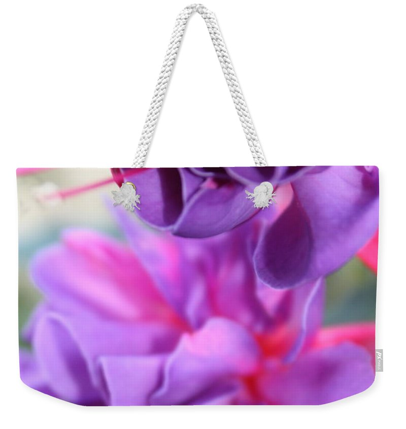 Florals Weekender Tote Bag featuring the photograph Fuchsia Drama by Carol Groenen