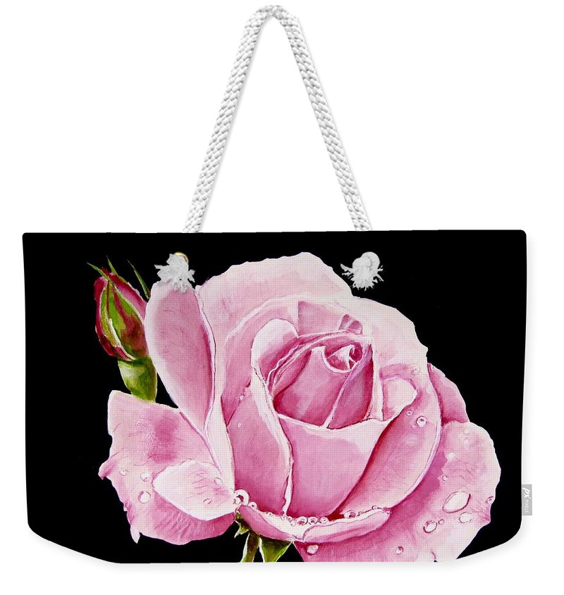 Pink Rose Weekender Tote Bag featuring the painting Fuchsia Rose by Carol Blackhurst