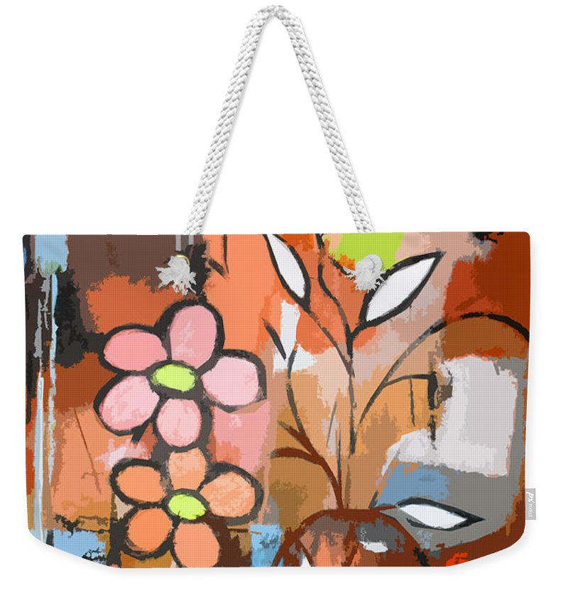 Abstract Weekender Tote Bag featuring the mixed media Fuddled Floral by Ruth Palmer