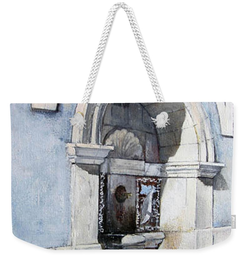 Fuente Weekender Tote Bag featuring the painting Fuente Castro Urdiales by Tomas Castano