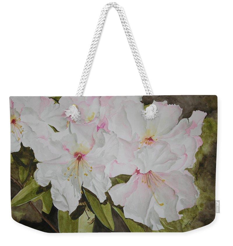Flowers Weekender Tote Bag featuring the painting Full Bloom by Jean Blackmer