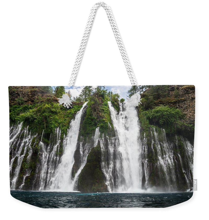 Macarthur-burney Falls Weekender Tote Bag featuring the photograph Full Frontal View by Greg Nyquist