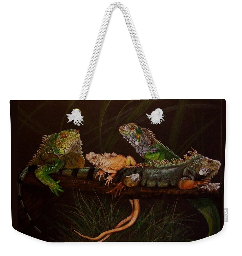 Iguana Weekender Tote Bag featuring the drawing Full House by Barbara Keith