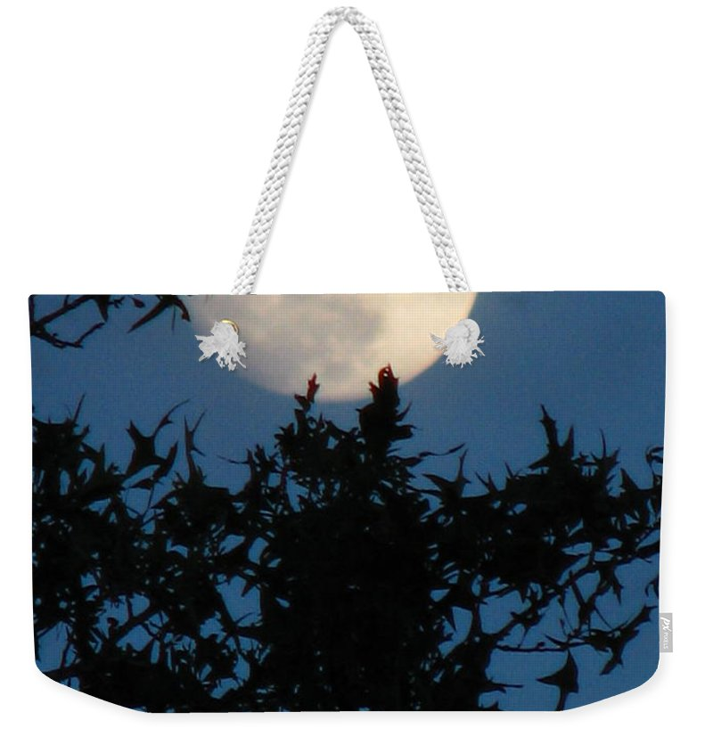 Patzer Weekender Tote Bag featuring the photograph Full Moon by Greg Patzer