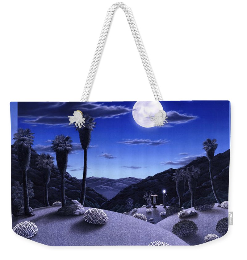 Desert Weekender Tote Bag featuring the painting Full Moon Rising by Snake Jagger