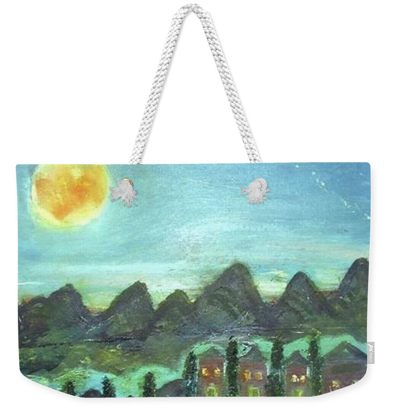 Weekender Tote Bag featuring the painting Full Moon Village by Martha Dolan