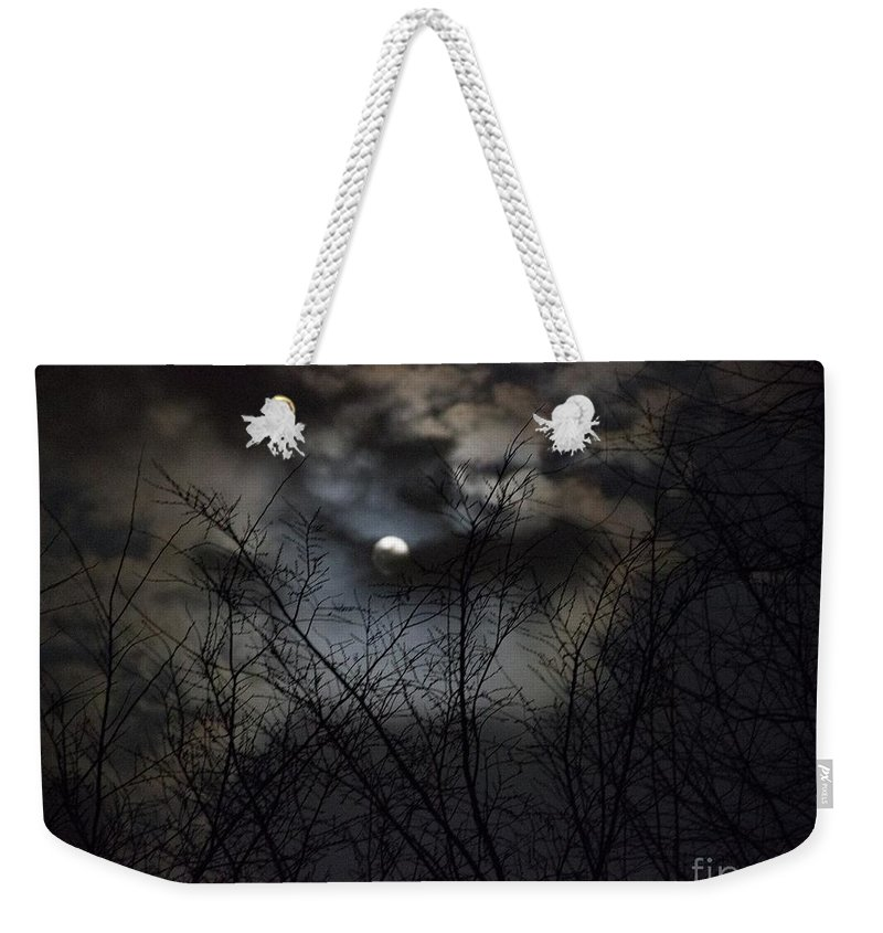 Full Moon Weekender Tote Bag featuring the photograph Full Moon With Clouds by Rebecca Pavelka