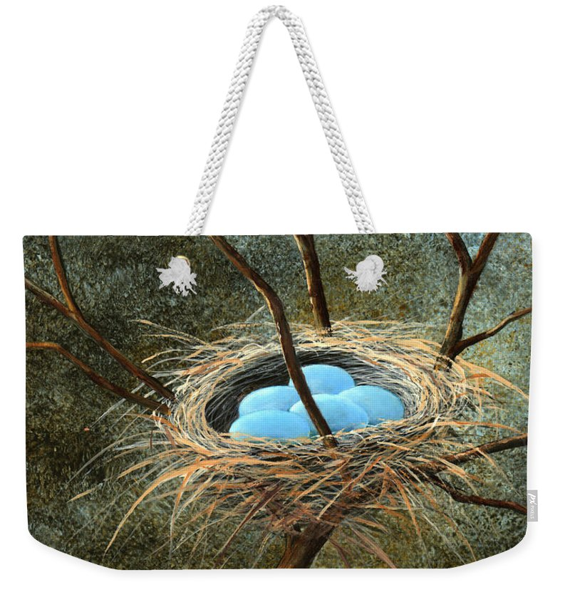 Birds Nest Weekender Tote Bag featuring the painting Full Nest by Frank Wilson