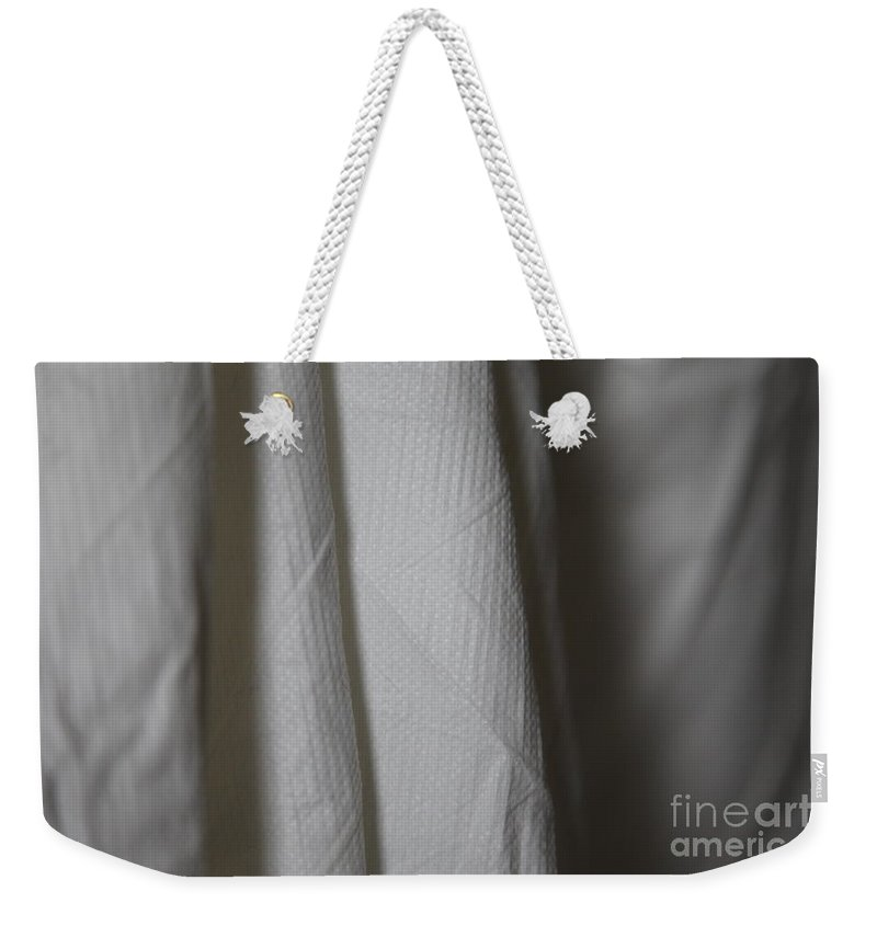 White Weekender Tote Bag featuring the photograph Full Of Empty - Sleep by Amanda Barcon