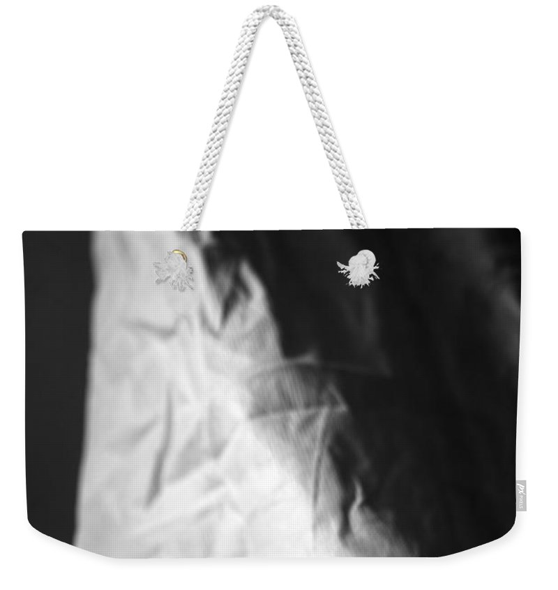 White Weekender Tote Bag featuring the photograph Full Of Empty Series - Lonely Widow by Amanda Barcon