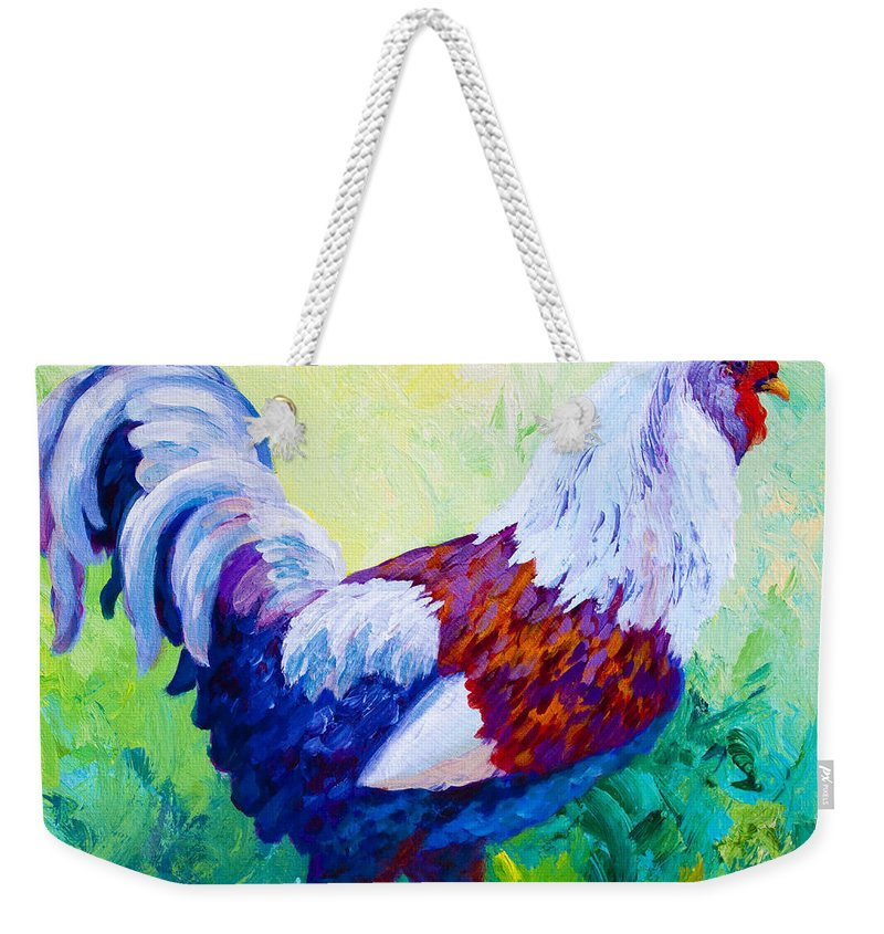 Rooster Weekender Tote Bag featuring the painting Full Of Himself by Marion Rose