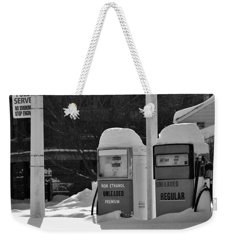B&w Weekender Tote Bag featuring the photograph Full service by Lisa Kane