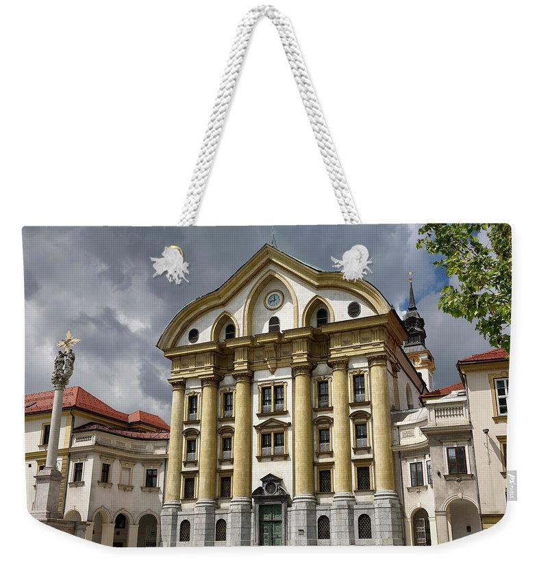 Sun Weekender Tote Bag featuring the photograph Full Sun On The Ursuline Church Of The Holy Trinity With Marble by Reimar Gaertner