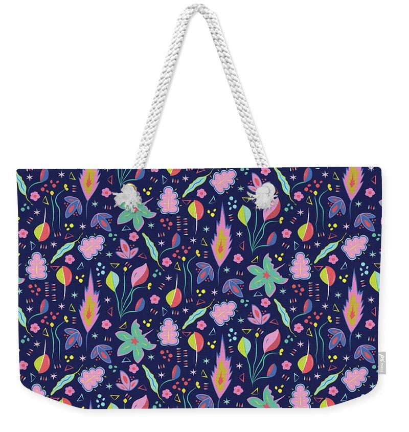 Leaf Weekender Tote Bag featuring the digital art Fun in the Garden by Elizabeth Tuck
