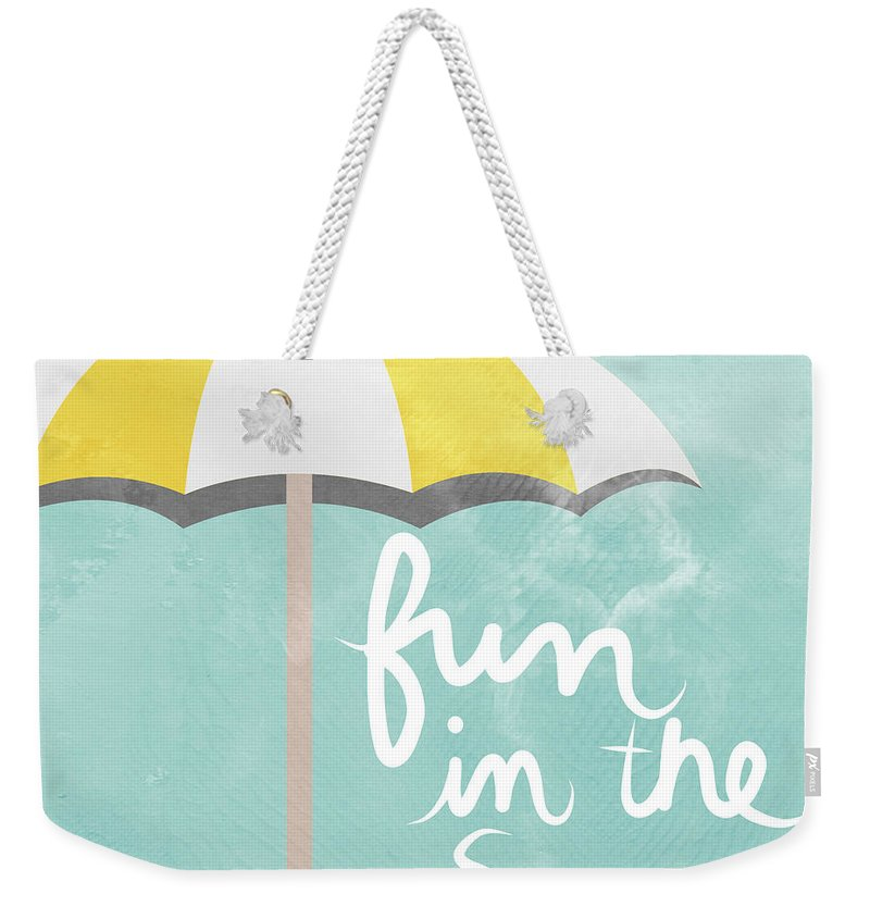 Beach Weekender Tote Bag featuring the painting Fun In The Sun by Linda Woods