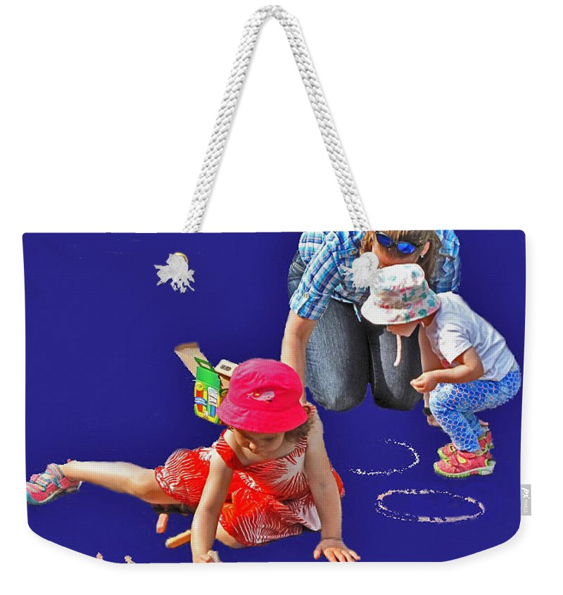 Girls Weekender Tote Bag featuring the photograph Fun With Chalk by Ian MacDonald