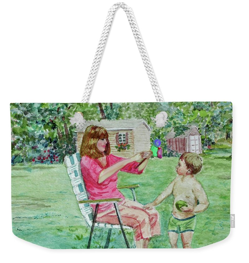 Summer Weekender Tote Bag featuring the painting Fun With Grandma by Jeannie Allerton