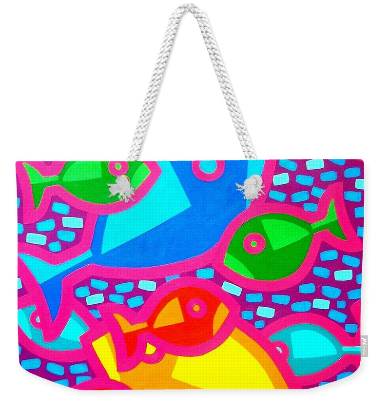 Irish Art Weekender Tote Bag featuring the painting Funky Fish by John Nolan