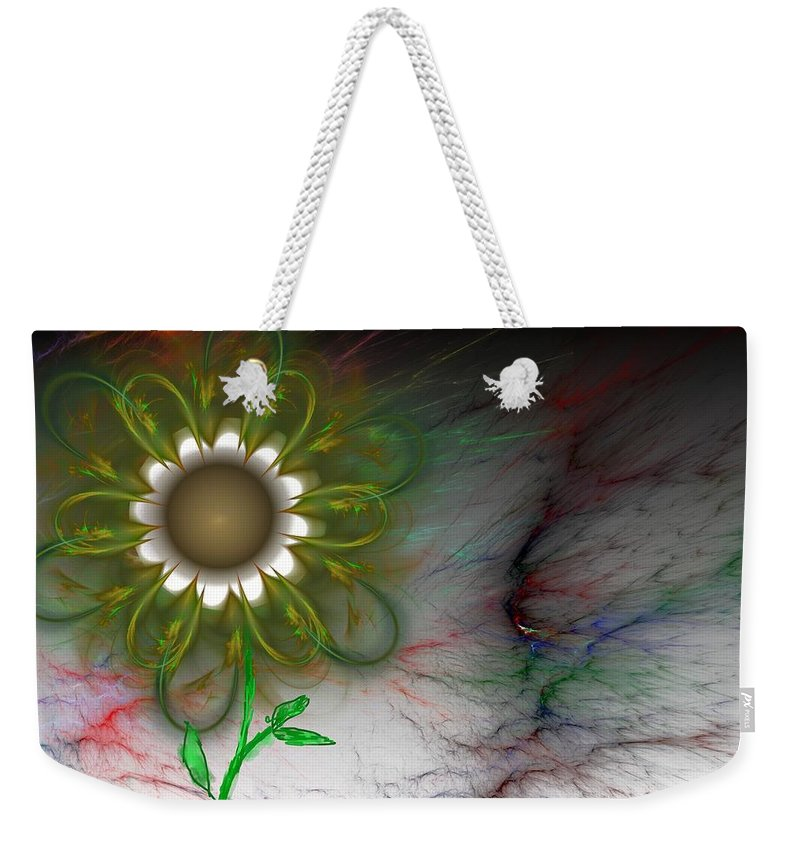 Digital Photography Weekender Tote Bag featuring the digital art Funky Floral by David Lane