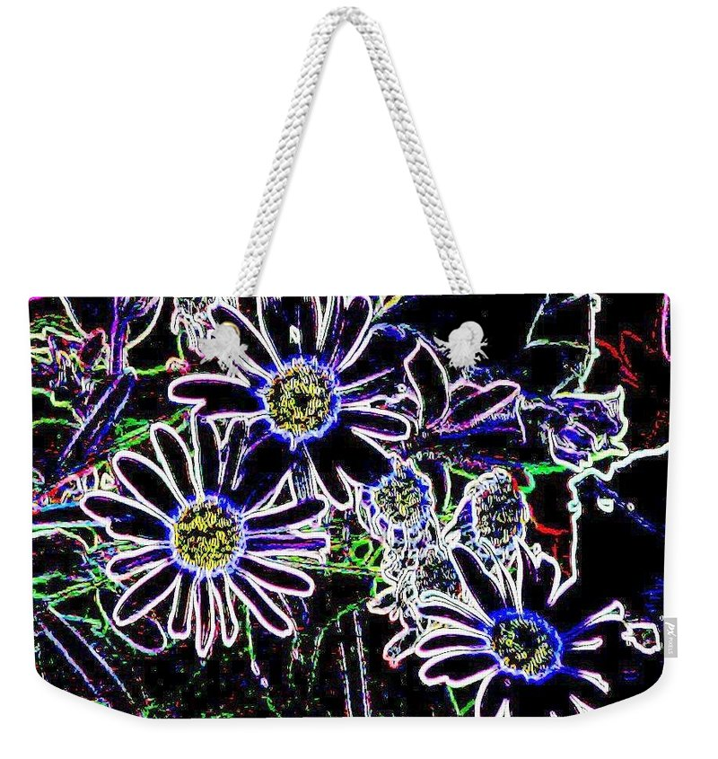 Flowers Weekender Tote Bag featuring the digital art Funky Flowers by Anita Burgermeister