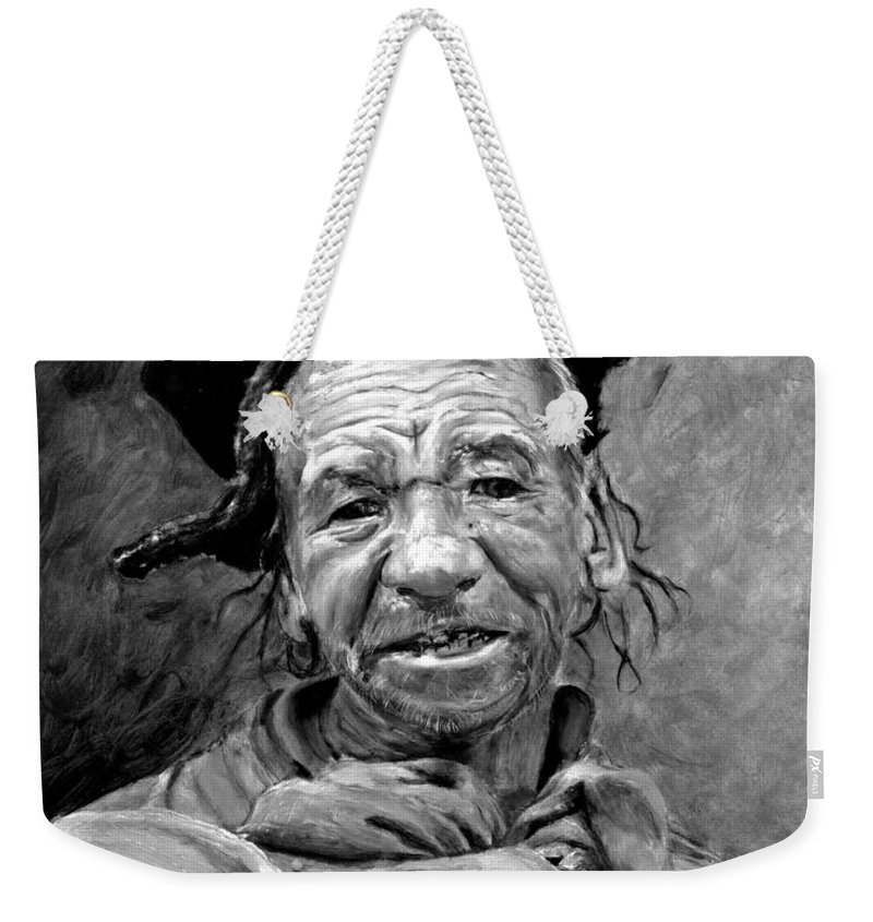 Man Weekender Tote Bag featuring the painting Funky Hat by Portraits By NC
