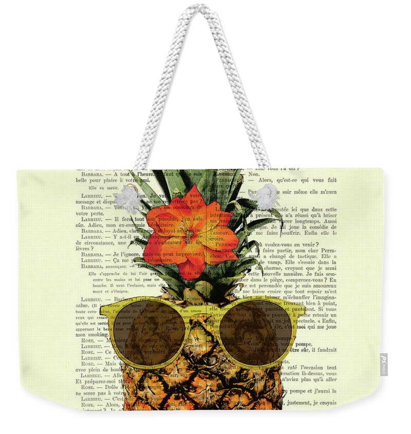 Humour Weekender Tote Bag featuring the digital art Funny And Cute Pineapple Art by Madame Memento