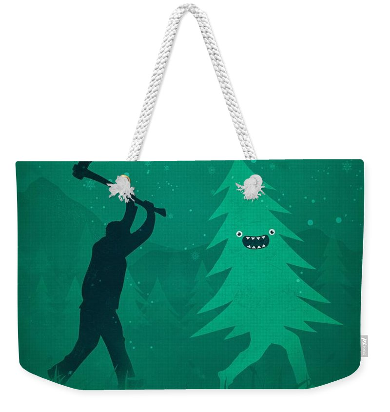 Cute Weekender Tote Bag featuring the digital art Funny Cartoon Christmas tree is chased by Lumberjack Run Forrest Run by Philipp Rietz