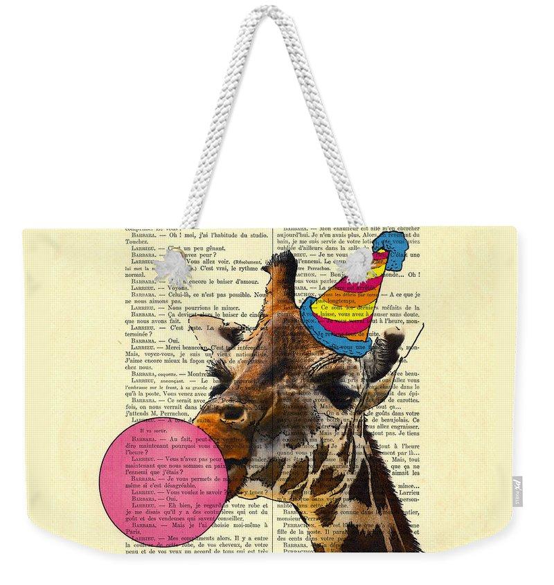 Giraffe Weekender Tote Bag featuring the digital art Funny Giraffe, Dictionary Art by Madame Memento