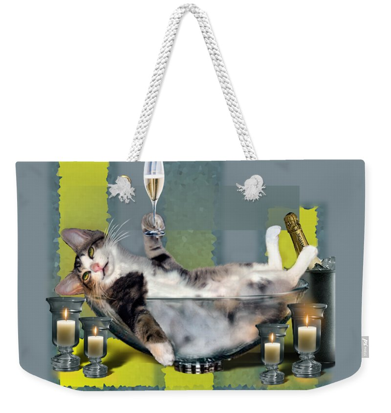 Funny Pet Print Weekender Tote Bag featuring the painting Funny pet print with a tipsy kitty by Regina Femrite