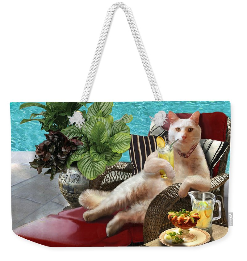 Funny White Cat With Tropical Drink In Paw Weekender Tote Bag featuring the painting Funny Pet Vacationing Kitty by Regina Femrite