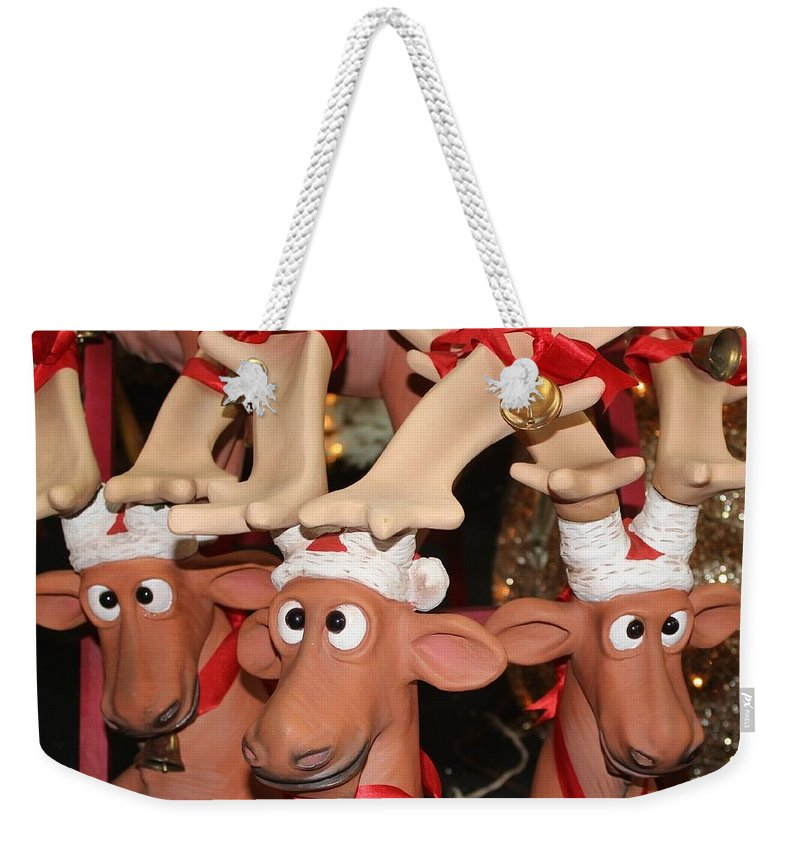 Greetings Weekender Tote Bag featuring the photograph Funny Reindeer by Jenny Revitz Soper