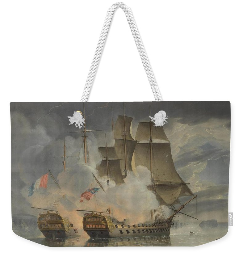 John Christian Schetky Weekender Tote Bag featuring the painting Furious Action Between by John Christian